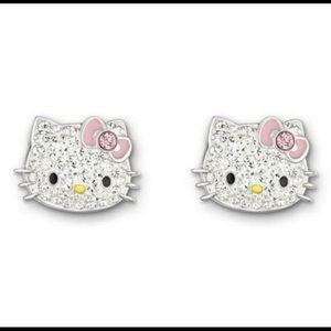 New Swarovski Crystal hello kitty pierced earrings